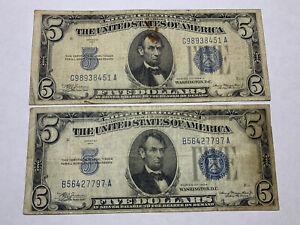 1934 Silver Certificate 5 Dollar Bill, lot of (2)