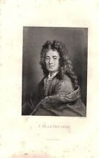 ANTIQUE ENGRAVING PORTRAIT JEAN DE LA BRUYERE FRENCH PHILOSOPHER