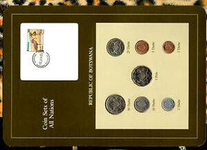 Coin Sets of All Nations Botswana 1981 & 1984 UNC birds 1 Pula 2 Thebe 81