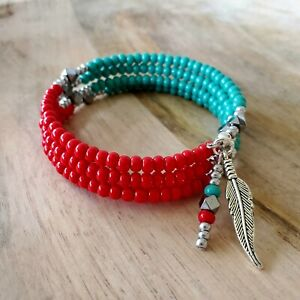 Wrap Bracelet Southwest Native American Style Red Turquoise Beaded  Memory Coil