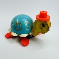 Vintage Fisher Price 1962 Tip Toe Turtle Pull Along Toy 773 Bell Walking Toy (H)