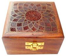 Beautiful Floral Design wooden Jewelry Trinket box with brass inlay from India