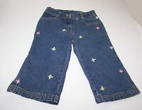 Gymboree Girls Denim Jeans Pants Size 6 Capri Blue Embroidered Butterflies