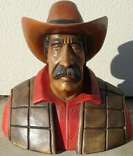 "Cowboy Bust, Hand Carved Wood, 14"" tall, sns144"