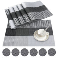 Set Of 6pcs Black PVC Placemats and Coasters Dining Table Place Mats Washable