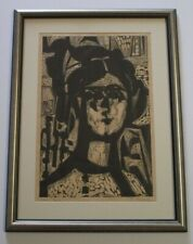 MID CENTURY MYSTERY ARTIST WOODCUT BLOCK PRINT ABSTRACT CUBISM SIGNED PORTRAIT