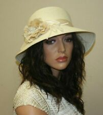 Women's Summer Hat with Flower, Beach Hat, Boho Style Clothing, Color: Ivory