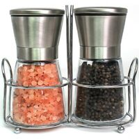 Salt and Pepper Grinder Premium Set of 2 Glass Body Brushed Steel Ceramic Mills