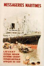 """""""MESSAGERIES MARITIMES"""" Affiche originale entoilée 1950 A. BRENET 36x54cm"""