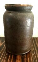 Antique Butter Churn Croc with Hand carved Lid Great Patina
