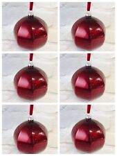 6 Cranberry Glass Christmas Baubles Tree Decorations LARGE Hanging Xmas Red
