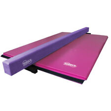 Purple Suede Balance Beam and Pink Folding Gymnastics Mat Set for Home Use