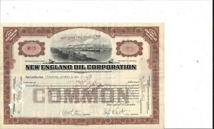 NEW ENGLAND OIL CORPORATION....1921 COMMON STOCK CERTIFICATE