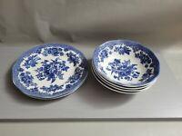 VINTAGE BLUE WHITE JOHNSON BROS ENGLAND BOWLS AND PLATES LOT OF 6PCS