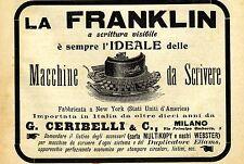 PUBBLICITA' 1903 MACCHINA DA SCRIVERE FRANKLIN NEW YORK CERIBELLI TYPEWRITER