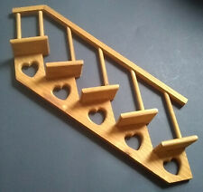 Wooden Miniature Display Shelf Stairs Hearts Wall Hanging