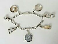 Vintage EAGLE 29 TEMCHA MEXICO Sterling Charm Bracelet with 7 Charms