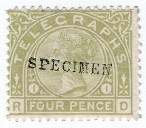 (I.B) QV Telegraphs : 4d Sage Green (plate 1) specimen