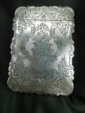 ANTIQUE VICTORIAN SILVER FLORAL CARD CASE BIRMINGHAM 1852 MAKER TD MONOGRAM
