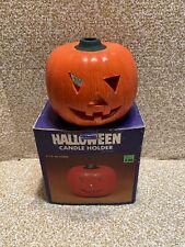 Halloween Pumpkin Ceramic Tea Light Candle Holder Decoration Vintage