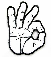 OK Hand Gesture Iron On Patch- Novelty Peace Badge Gift Embroidered Applique