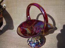 Gibson Art Glass Red Carnival Iridescent Basket
