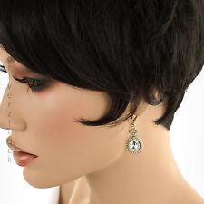 DANA BUCHMAN Women's TEAR DROP GOLD & CLEAR EARRINGS Faux Crystals DANGLE