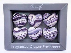 Scented Decorative Drawer Fragrance PackOf6 Heart Shape Black Iris Scent Gift UK