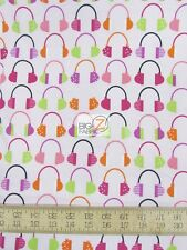 BEATBOX HEADPHONES PINK BY ROBERT KAUFMAN 100% COTTON FABRIC BY YARD FH-2282