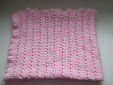 HAND MADE CROCHET 34 X 30 INCH BABY BLANKET IN PINK, PRAM COT MOSES BASKET SHAWL