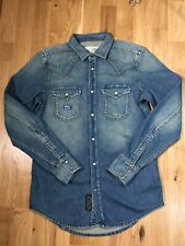 Mens Diesel Denim Shirt Small Western Snap Button Excellent Condition.