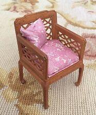 Bespaq/Pat Tyler Dollhouse Miniature OOAK Silk Fabric Chair Seat Chaise 1:12
