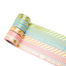 6er Washi Tape Set Masking Tape Klebeband Scrapbooking Weihnachten Gold 9672