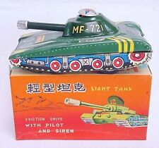 China Mf-721 Chinese Military Army Light Tank Tin Friction Toy Mib`60 Very Rare!