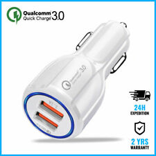 Dual 2x USB Port Quick Charge 3 Car Charger Chargeur Voiture Auto Oplader White