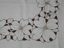 7 PC Set Antique VTG Hand Embroidery MADEIRA Linen Tablecloth & 6 Napkins