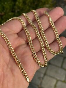 """Solid 10k Yellow Gold Mens 4.5mm Miami Cuban Link Chain 20"""" 22"""" 24"""" 10-12 Grams"""