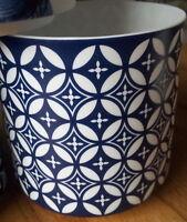 Windlicht Porzellan Weiß Blau Floral Blume Landhaus Blüte Ornament Muster
