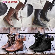 Women Vintage Leather Combat Boots Ladies Lace Up Flats  Martin Shoes Size