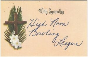 Vintage 'With Sympathy' Funeral Memorial Card from High Noon Bowling League
