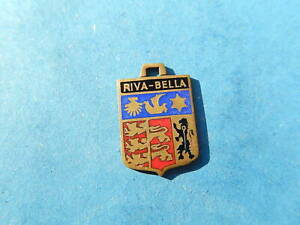 Vintage Enamel french Travel Shield Charms RIVA BELLA SHELL  LION LEOPARD VTUSA