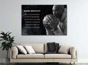 Kobe Bryant Poster Motivation, 3 Panels Mamba Mentality Wall Art Basketball Gift