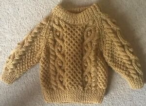 """New ** TODDLER ARAN JUMPER **  Corn Hand Knitted Cable Stitch 22"""" chest"""