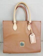 DOONEY & BOURKE Janine Brown Red Trim Pebble Leather Satchel Purse Hand Bag Snap