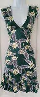 Womens Noblemoon Green Floral Plunge Silky Vintage Style Landgirl Tea Dress M.