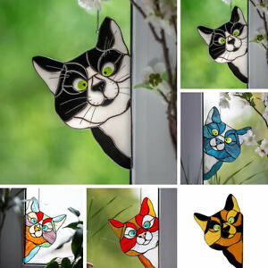 Cat Stained Glass Sun Catcher Kitten Window Hanging Suncatcher Home Decor