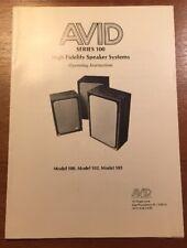 AVID 100, 102, 103 HIGH FIDELITY SPEAKER SYSTEMS ORIGINAL OPERATING MANUAL P056