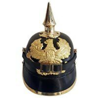 WW1 WW2 German Leather Pickelhaube Helmet Prussian Helmet, Spiked Officer helmet