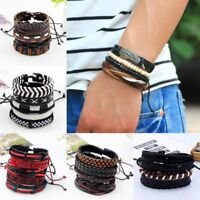 5pcs Fashion Mens Punk Leather Wrap Braided Wristband Cuff Punk Bracelet Bangle