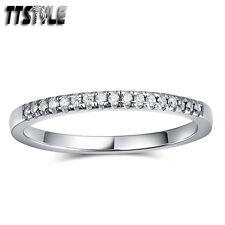 TTstyle 1.5mm RHODIUM 925 Sterling Silver Anniversary Wedding Band Ring Sz 5-7